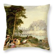 City Of Salzburg Throw Pillow by Philip Hutchins Rogers