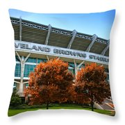 Cleveland Browns Stadium Throw Pillow by Kenneth Krolikowski