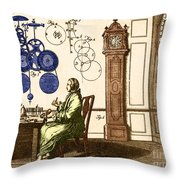 Clockmaker Throw Pillow by Photo Researchers
