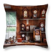 Clocksmith - In The Clock Repair Shop Throw Pillow by Mike Savad