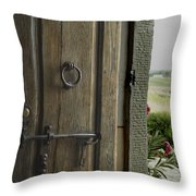 Close View Of A Wooden Door On A Villa Throw Pillow by Todd Gipstein