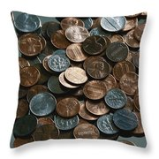 Close View Of United States Coins Throw Pillow by Vlad Kharitonov