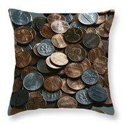 Close View Of United States Coins Throw Pillow by Vlad Kharitonov