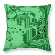 Closeup Of A Motherboard Throw Pillow by Yali Shi