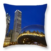 Cloud Gate The Bean Sculpture In Front Throw Pillow by Axiom Photographic