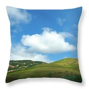 Cloud Over Hills In Spring Throw Pillow by Kathy Yates