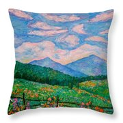 Cloud Swirl Over The Peaks Of Otter Throw Pillow by Kendall Kessler