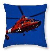 Coast Guard Helicopter Throw Pillow by Stocktrek Images