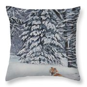 Collie Sable Christmas Tree Throw Pillow by Lee Ann Shepard
