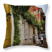 Colonial Buildings In Old Cartagena Colombia Throw Pillow by David Smith