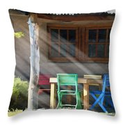 Colorful Chairs Throw Pillow by Sharon Foster