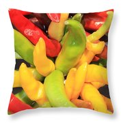 Colorful Chili Peppers  Throw Pillow by Carol Groenen