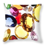 Colorful Gems Throw Pillow by Setsiri Silapasuwanchai