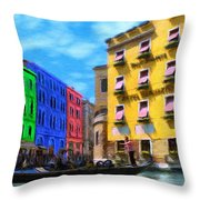 Colors Of Venice Throw Pillow by Jeff Kolker
