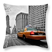 Colour Popped Nyc Cab In Front Of The Flat Iron Building  Throw Pillow by John Farnan
