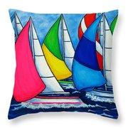 Colourful Regatta Throw Pillow by Lisa  Lorenz