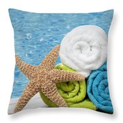 Colourful Towels Throw Pillow by Amanda Elwell