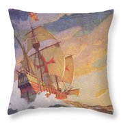 Columbus Crossing The Atlantic Throw Pillow by Newell Convers Wyeth