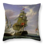 Combat Between The French Frigate La Canonniere And The English Vessel The Tremendous Throw Pillow by Pierre Julien Gilbert