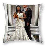 Commissioned Wedding Portrait  Throw Pillow by Reggie Duffie
