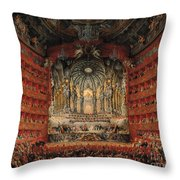 Concert Given By Cardinal De La Rochefoucauld At The Argentina Theatre In Rome Throw Pillow by Giovanni Paolo Pannini or Panini