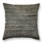 Confederate Solider Monument Throw Pillow by Randy Bodkins