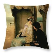 Confidences On The Beach Throw Pillow by Vincente Gonzalez Palmaroli