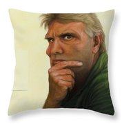 Contemplating the blank page Throw Pillow by James W Johnson