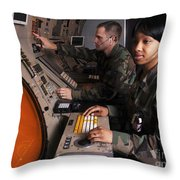 Control Technicians Use Radarscopes Throw Pillow by Stocktrek Images