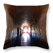 Convent Corridor Shrouded in Shadow Throw Pillow by Mexicolors Art Photography