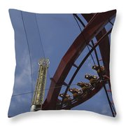Copenhagen, Denmark, Rollercoaster Ride Throw Pillow by Keenpress