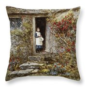 Corcorus Japonica Throw Pillow by Helen Allingham
