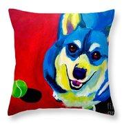 Corgi - Play Ball Throw Pillow by Alicia VanNoy Call