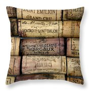 Corks Of French Wine Throw Pillow by Bernard Jaubert