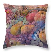 Cornucopia Of Fruit Throw Pillow by Arline Wagner