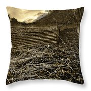 Corrugated Tin Pen Throw Pillow by Meirion Matthias