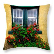 Cottage Window, Co Antrim, Ireland Throw Pillow by The Irish Image Collection