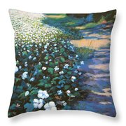 Cotton Field Throw Pillow by Jeanette Jarmon