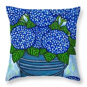 Country Blues Throw Pillow by Lisa  Lorenz