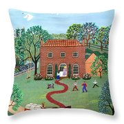 Country Visit Throw Pillow by Linda Mears