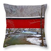 Covered Bridge Along The Wissahickon Creek Throw Pillow by Bill Cannon