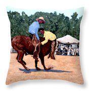 Cowboy Conundrum Throw Pillow by Tom Roderick