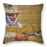 Cowboy Poet Throw Pillow by Joan Carroll