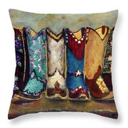 Cowgirls Kickin The Blues Throw Pillow by Frances Marino