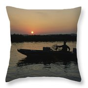 Crabbing Off Delacroix Island Throw Pillow by Medford Taylor