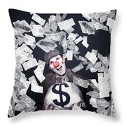 Crazy Clown Excited To Hold A Bag Of Money Throw Pillow by Jorgo Photography - Wall Art Gallery
