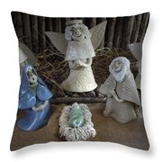 Creche Mary Joseph and Baby Jesus Throw Pillow by Nancy Griswold