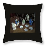 Creche Shepards And Sheep Throw Pillow by Nancy Griswold
