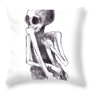 Crouched Skeleton Throw Pillow by Michal Boubin