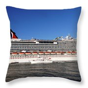 Cruise Ship Is Leaving The Port Throw Pillow by Susanne Van Hulst